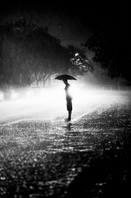 Person standing in the middle of the road holding an umbrella on a foggy evening