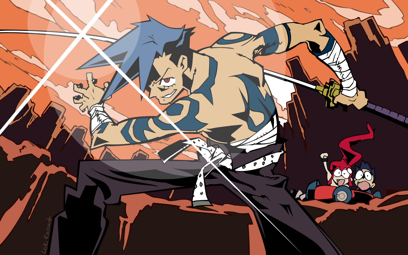 Art from anime cult classic Gurren Lagann, including Kamina Simon and Yoko